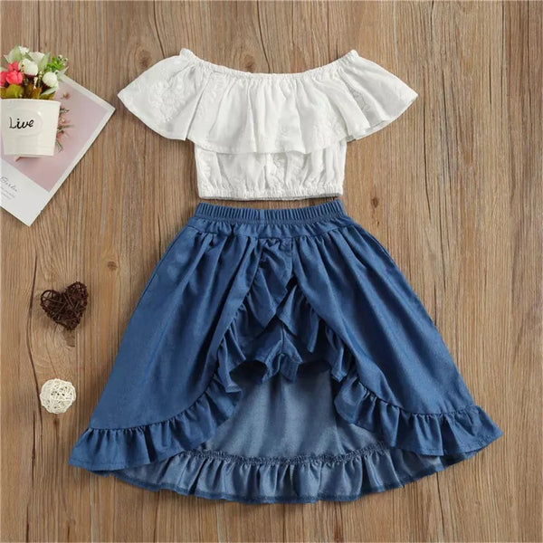 Girls Off Shoulder Solid Top & Skirt Girls Boutique Clothes Wholesale