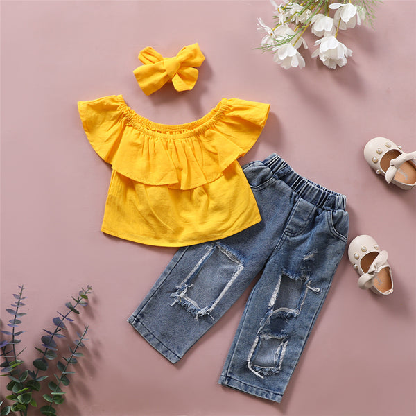 Girls Off Shoulder Solid Yellow Lotus Leaf Collar Top & Ripped Jeans & Headband Toddler Girls Wholesale