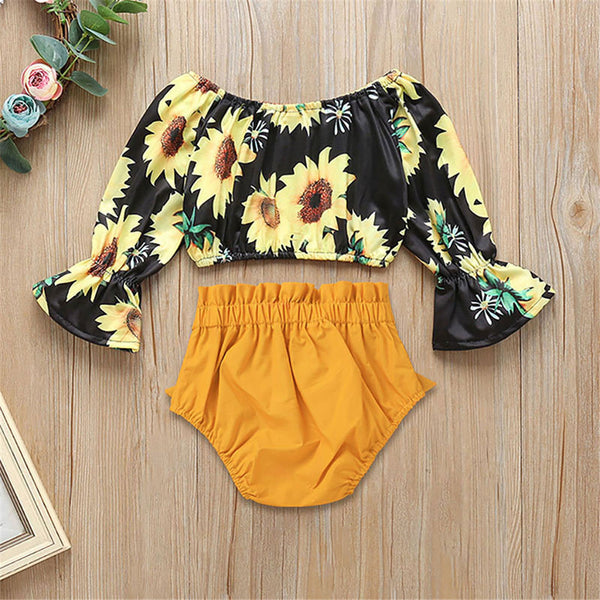 Girls Off Shoulder Sunflower Printed Flare Sleeve Top & Solid Shorts wholesale childrens clothing