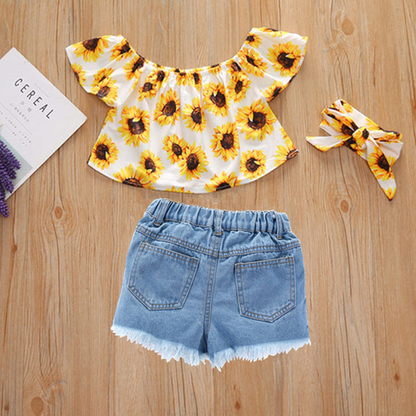 Girls Off Shoulder Sunflower Printed Top & Denim Shorts wholesale little girl clothing