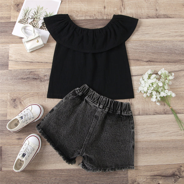 Girls Off Shoulder Top & Ripped Shorts wholesale kids clothing
