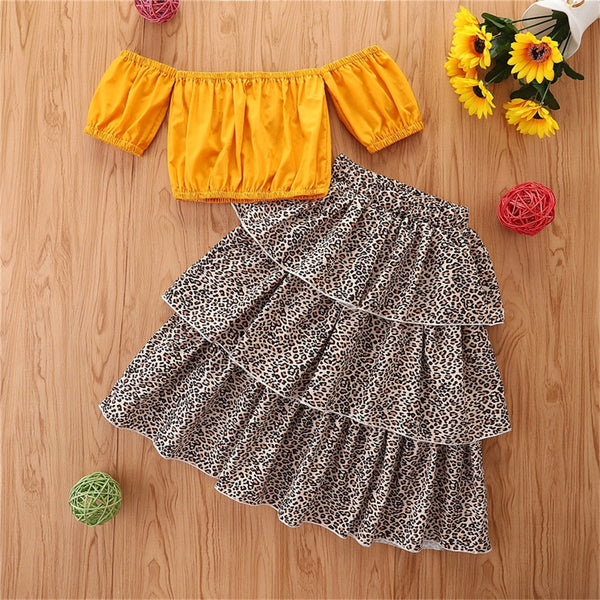 Girls Off Shoulder Yellow Short Sleeve Top & Leopard Skirt childrens wholesale clothing
