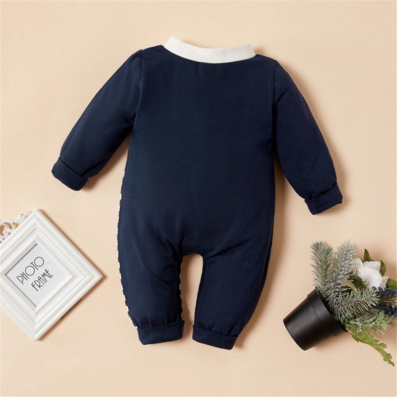 Baby One-Piece Cartoon Striped Long Sleeve Romper