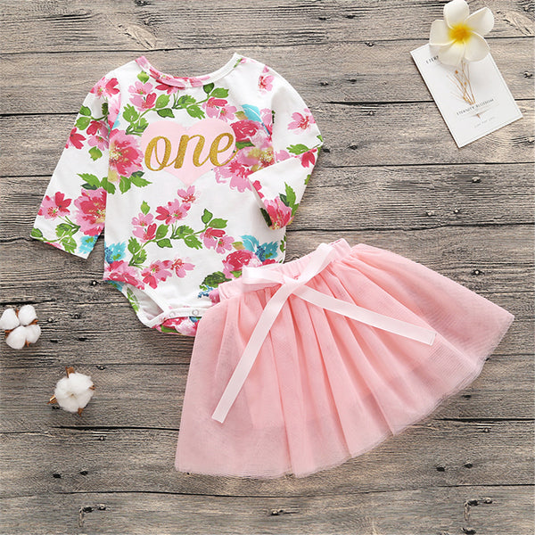 Baby Girls One Long Sleeve Floral Romper & Tutu Skirt Wholesale Baby Boutique Items