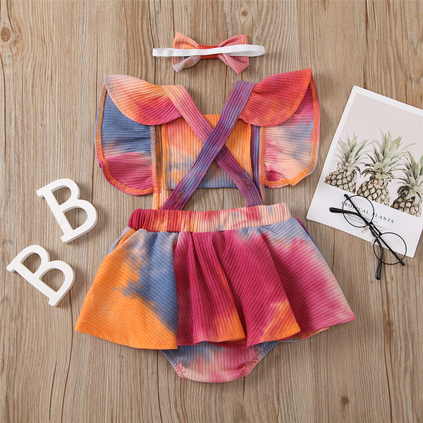 Baby Girls One Piece Tie Dye Ruffle Romper & Headband Wholesale Baby Rompers