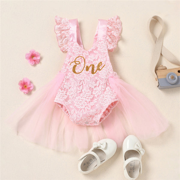 Baby Girls One Printed Lace Flying Sleeve Tulle Romper baby clothes wholesale distributors