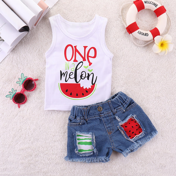 Girls One Watermelon Printed Sleeveless Top & Ripped Denim Shorts Kids Wholesale Clothing