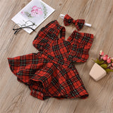 Baby Girl Onesie Plaid Sleeveless Romper & Headband Baby Clothes Cheap Wholesale