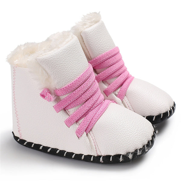 Baby Unisex PU Elastic Band Fur Boots Baby Shoes Wholesale