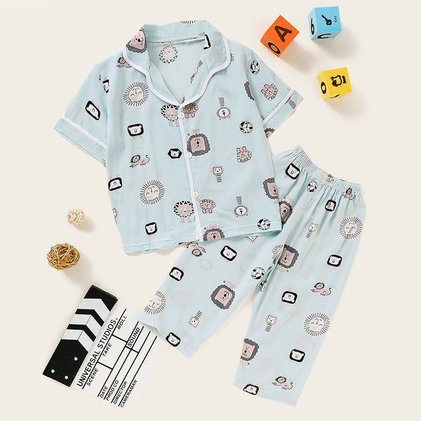 Unisex Pajamas Cartoon Printed Top & Pants Wholesale Kidswear