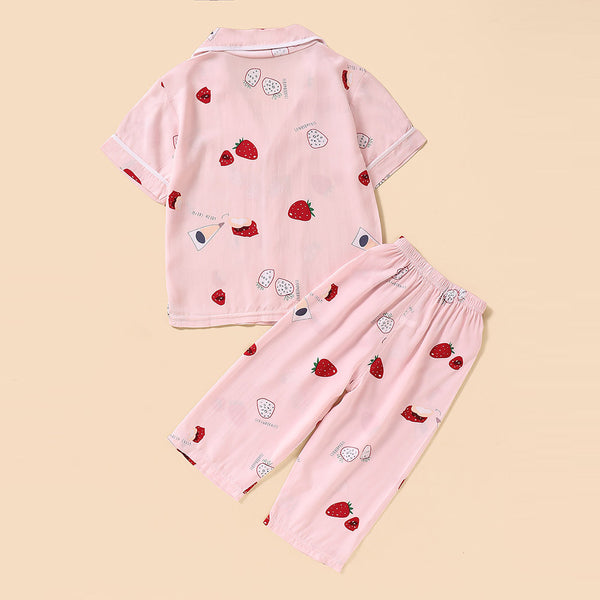Girls Pajamas Short Sleeve Fruit Printed Button Top & Pants Wholesale Baby Girl Clothes