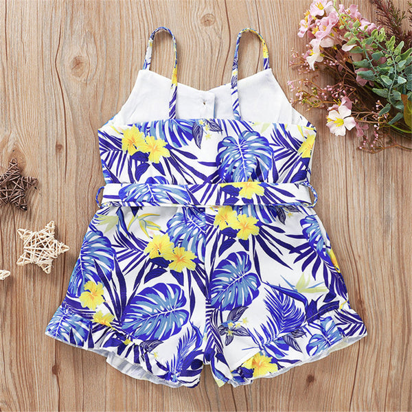 Girls Palm Floral Printed Sling Jumpsuit wholesale children's boutique clothing suppliers usa