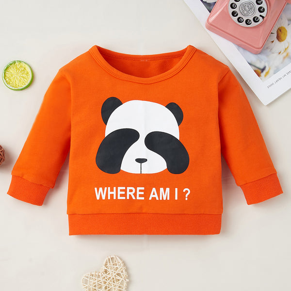 Baby Unisex Panda Letter Printed Cute T-shirt Wholesale Baby