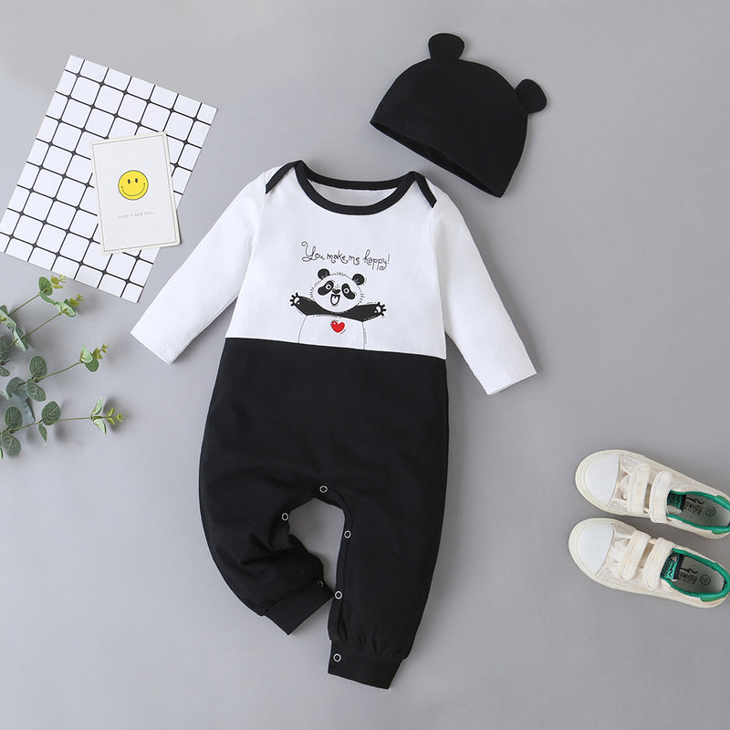 Baby Panda Long Sleeve Rompers & Hat