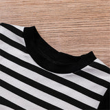 Baby Unisex Panda Striped Short Sleeve Romper Cheap Boutique Baby Clothing