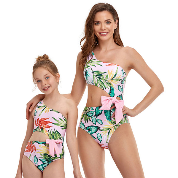 Parent-Child Bow Decor Oblique Shoulder Waistless Jumpsuit Swimwear mommy and me wholesale vendors