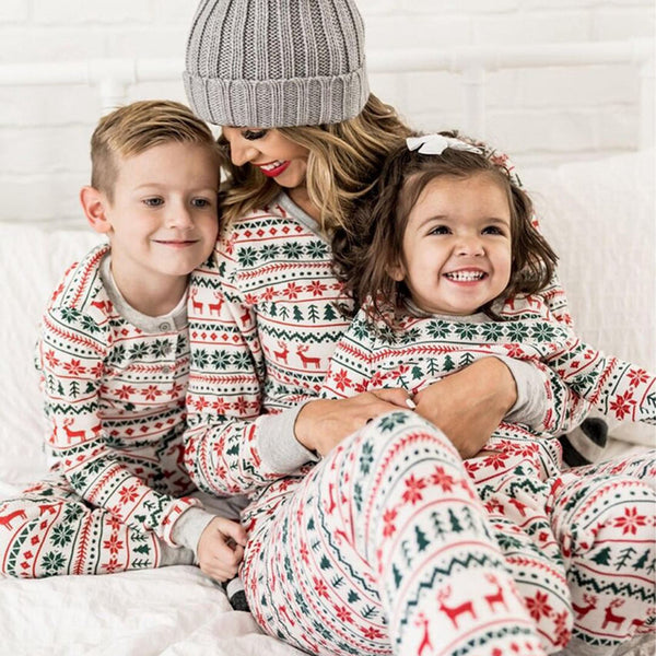 Parent-Child Cartoon Printed Christmas Pajamas Mommy And Me Wholesale