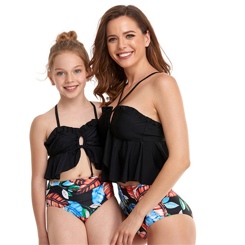 Parent-Child Fashion Pattern Printed Swimming Suit Mommy And Me Wholesale