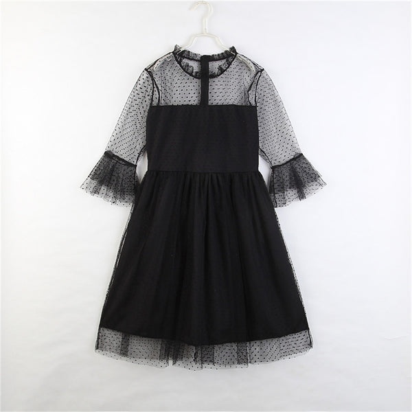 Parent-Child Lace Half Sleeve Polka Dot Black Dress Mommy And Me Outfits Wholesale