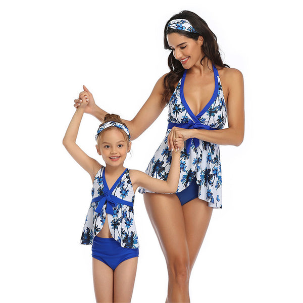 Parent-Child Leaves Printed Sling Swimming Suit Wholesale Plus Size Swimwear