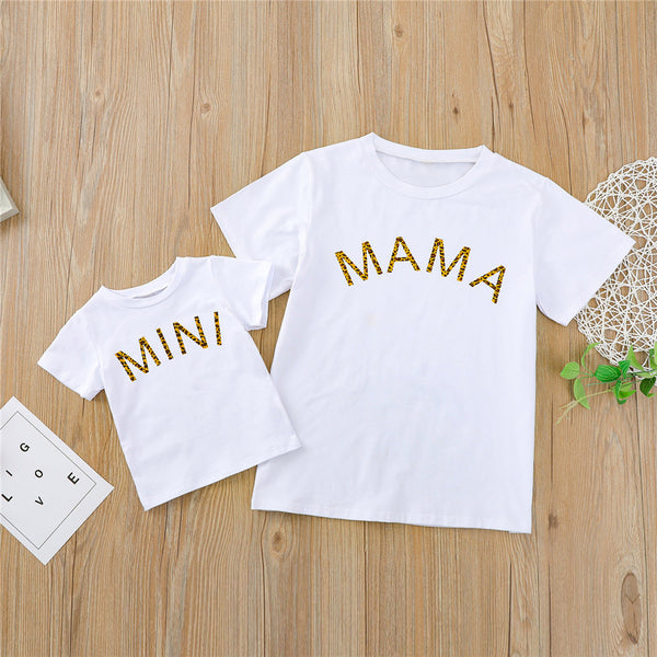 Parent-Child Leopard Mini Mama Letter Printed Short Sleeve Tops Mommy And Me Outfits Wholesale