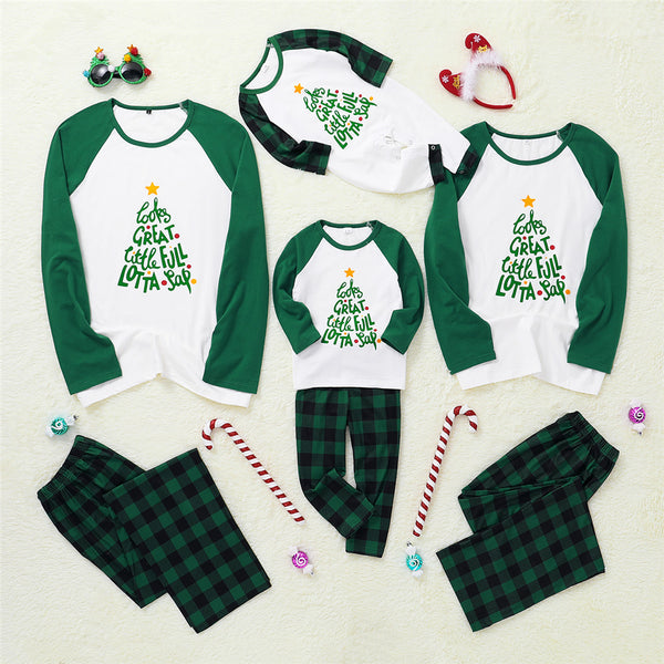 Parent-Child Letter Printed Long Sleeve Top & Plaid Pants Mommy And Me Wholesale Clothing