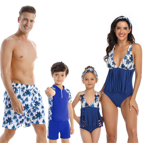 Parent-Child Pattern Printed Swimwear Beach Shorts Wholesale Plus Size Swimsuits
