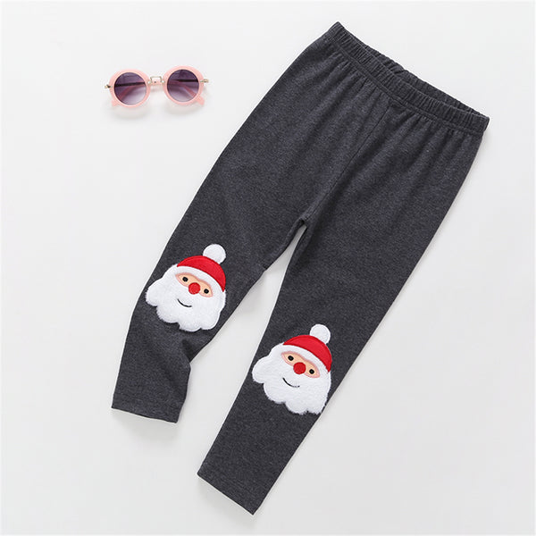 Parent-Child Santa Claus Elastic Waist Embroidered Leggings Mommy And Me Matching Outfits Wholesale