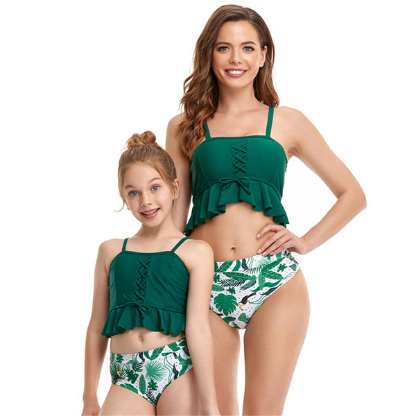 Parent-Child Solid Sling Top & Floral Printed Bottoms Swimming Suit mommy and me outfits wholesale