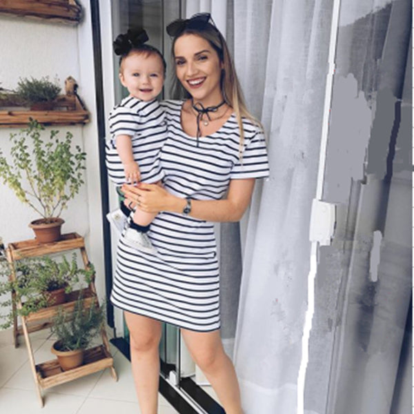 Parent-Child Striped Short Sleeve Casual Dresses mommy and me wholesale