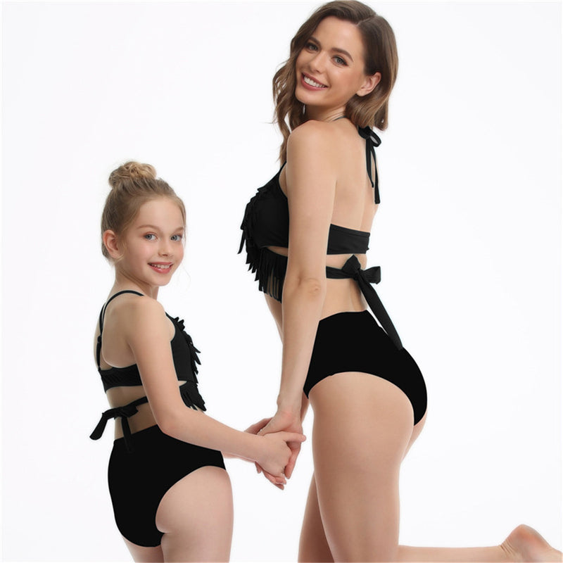 Parent-Child Tassel Solid Color Halter Swimming Suit mommy and me wholesale