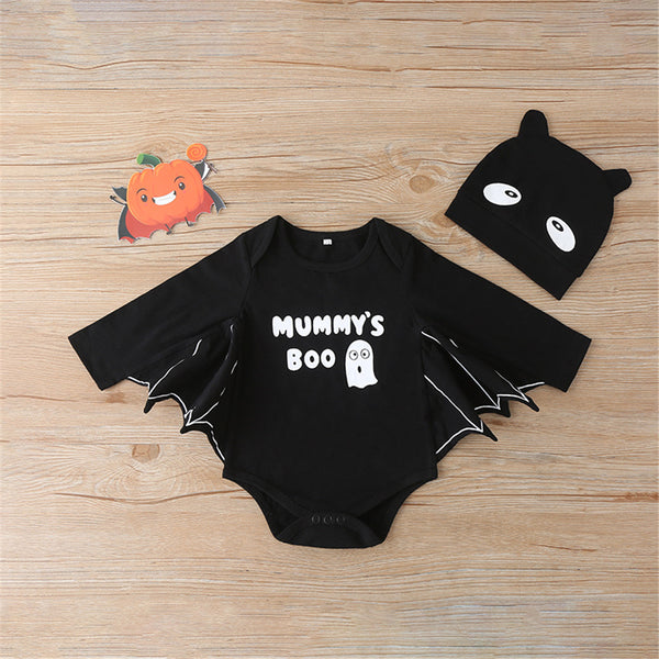 Baby Boys Pattern Bat Letter Printed Romper & Hat Baby Wholesales