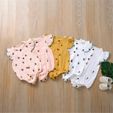 Baby Girls Pattern Cartoon Button Short Sleeve Romper Baby Clothing Wholesale