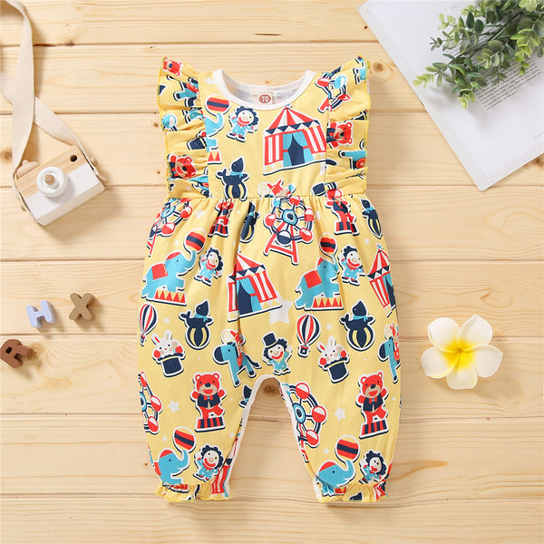 Baby Girls Pattern Cartoon Circus Printed Ruffled Romper cheap baby girl clothes boutique