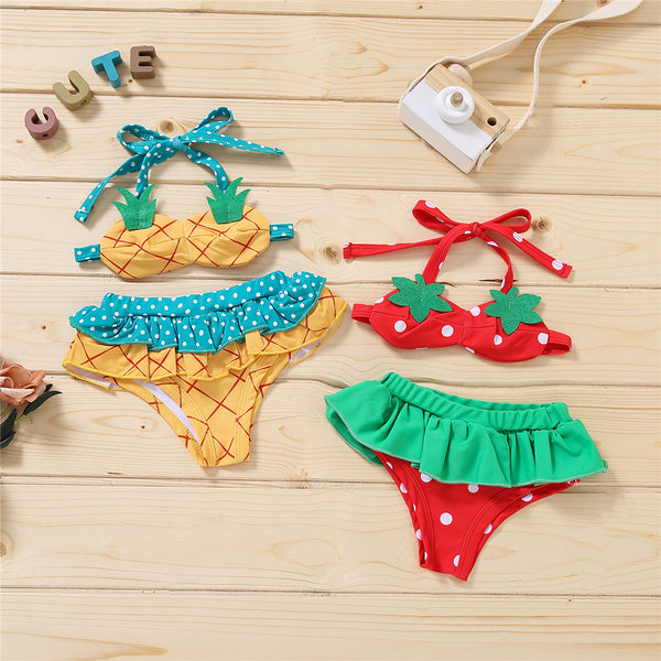 Baby Girls Pattern Fruit Lovely Tie Up Top & Shorts Swimming Suit Wholesale Baby Clothes