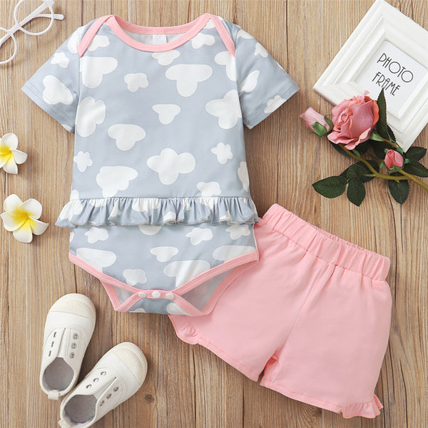 Baby Girls Pattern Printed Short Sleeve Romper & Pink Shorts Baby Clothes Cheap Wholesale