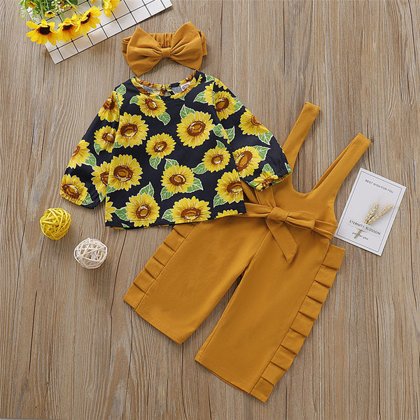 Baby Girls Pattern Sunflower T-shirt & Overall & Hairband Wholesale