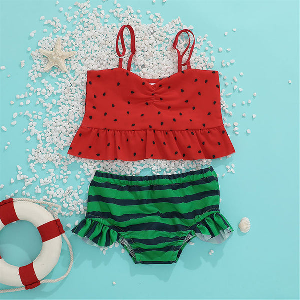 Girls Pattern Watermelon Polka Dot Sling Top & Striped Shorts 2 Piece Swimsuit With Shorts