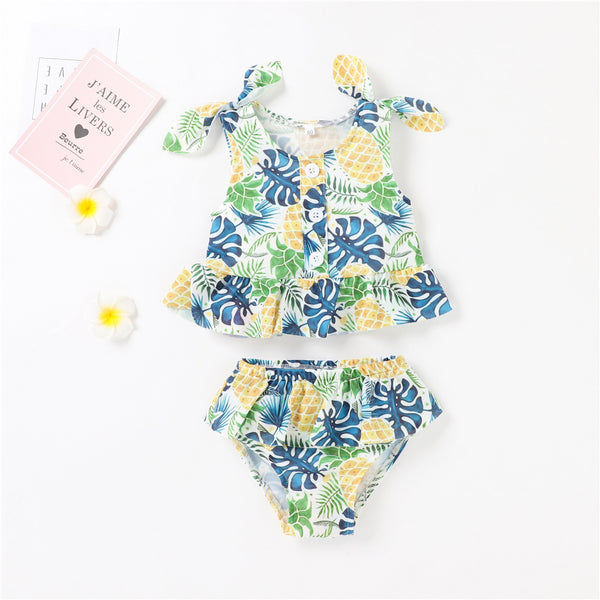 Baby Girls Pineapple Leaves Printed Sling Swimsuit Swimwear With Shorts