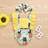 Baby Girls Pineapple Printed Button Sleeveless Romper Bulk Baby Clothes For Sale