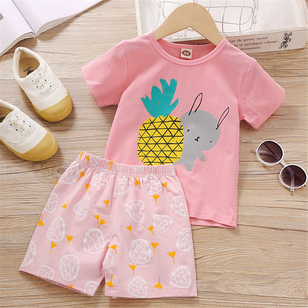 Girls Pineapple Rabbit Printed Short Sleeve Top & Shorts kids clothes wholesale