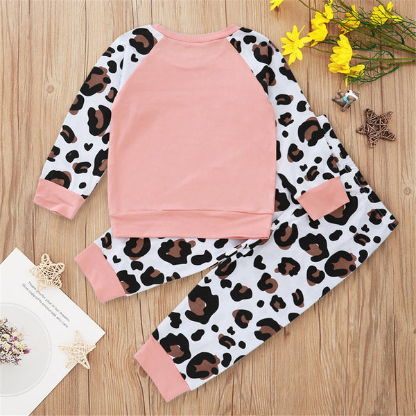 Girls Pink Leopard Long Sleeve Top & Pants Wholesale Little Girl Clothing