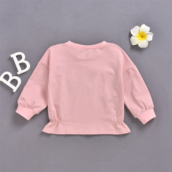 Girls Pink Long Sleeve Casual T-shirt Wholesale Girl Boutique Clothing