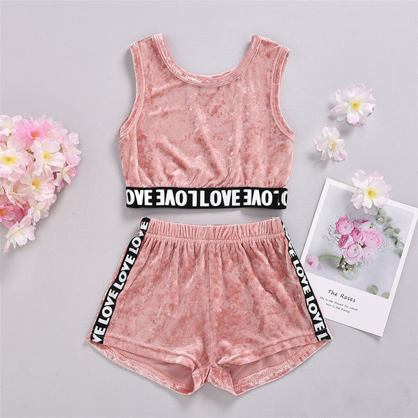 Girls Pink Love Printed Sleeveless Top & Shorts kids wholesale clothing