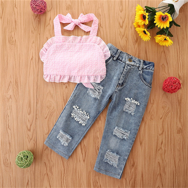 Girls Pink Plaid Sling Top & Ripped Jeans wholesale kids clothing