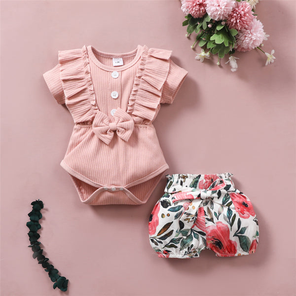 Baby Girls Pink Short Sleeve Ruffled Romper & Floral Printed Shorts Wholesale Baby Clothes