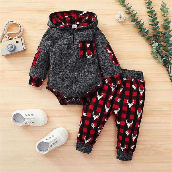 Baby Boys Plaid Antlers Printed Hooded Long Sleeve Romper & Pants Baby Boutique Wholesale