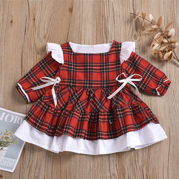 Girls Plaid Bow Decor Long Sleeve Dress Girls Dress Wholesale