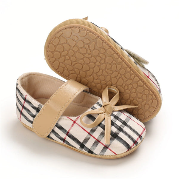 Baby Girls Plaid Bow Decor Magic Tape Shoes Wholesale Baby Shoes Suppliers