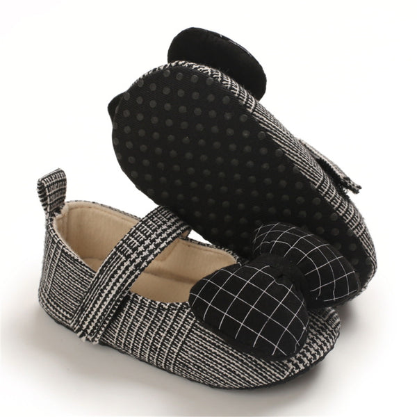 Baby Girls Plaid Bow Magic Tape Shoes Wholesale Childrens Shoes